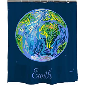 Blue Earth And Stars Shower Curtain For Bathroom Space Planet Universe Solar System Waterproof