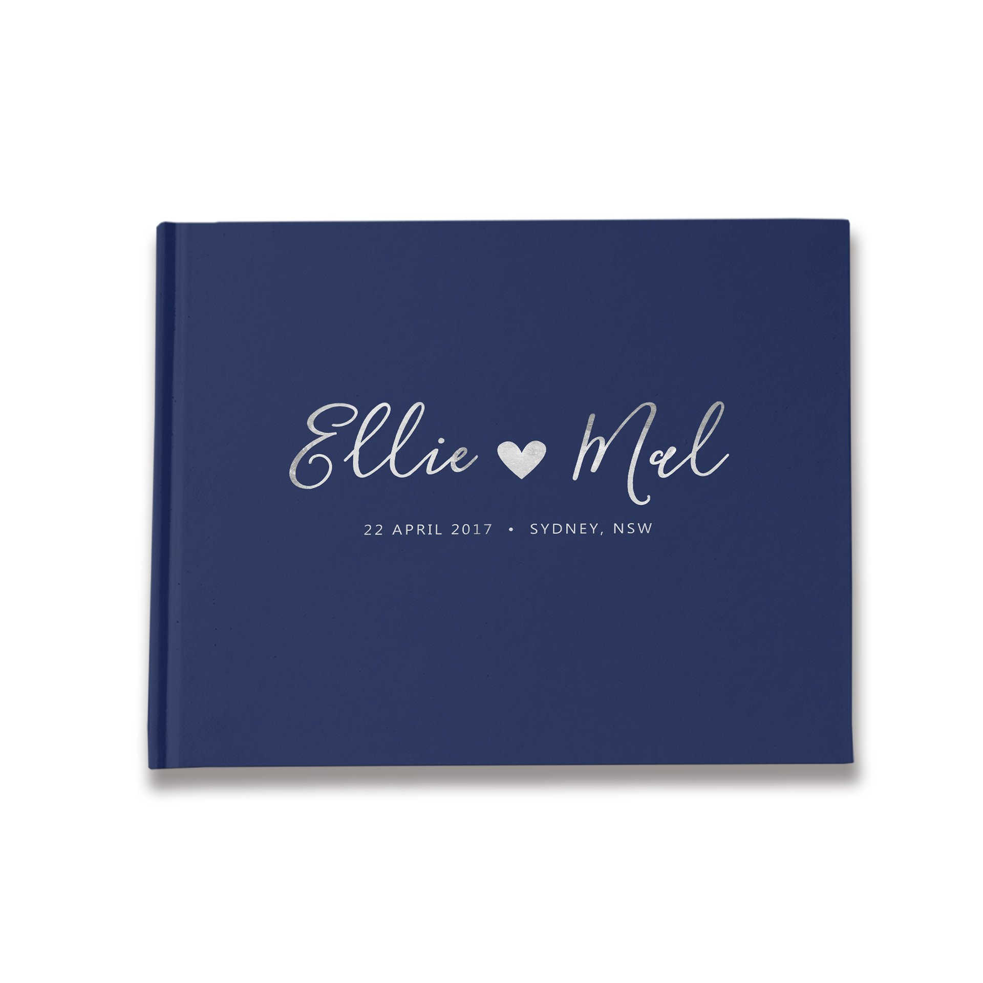 Paper Bound Love Navy Wedding Guest Book Personalized, Wedding Signature Book, Wedding Well Wishes Book (10 x 8 inches)