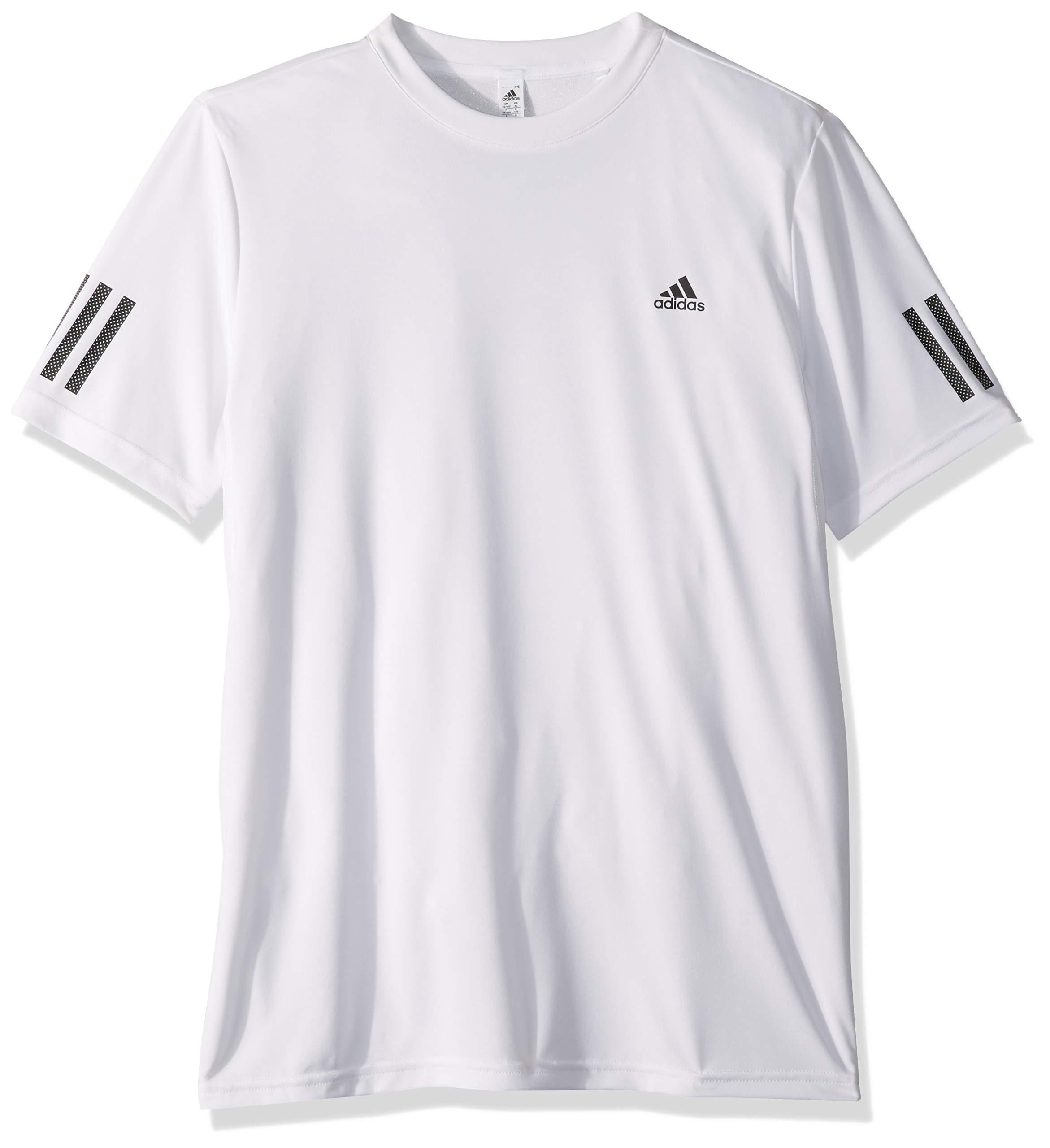 adidas Youth Club 3-Stripes Tennis Tee, White/Black, Medium