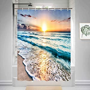 HNMQ Ocean RV Shower Curtain, Sand Beach Wave Sea Water Pattern Set Fabric Shower Stall Curtain, Waterproof Polyester with Hooks, 47X64IN Camper Travel Trailers RV Shower Curtain Accessories