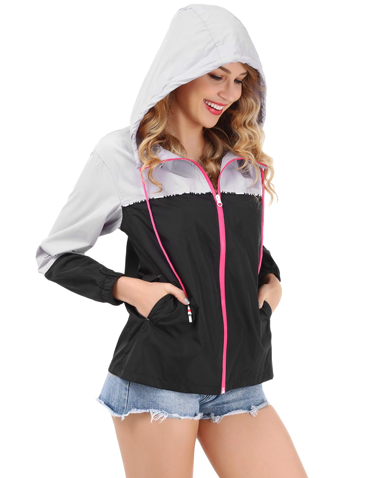 FISOUL Women's Waterproof Raincoat Packable Active Outdoor Hooded Lightweight Rain Jacket Windbreaker S-XXL(Gray/Black,Medium)