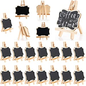 20Pcs Mini Chalkboard,Small Cute Blackboard With Base Stand Burly Wood Menu Boards Desktop Table Plate Number Message Board Card Label Tags Decoration For Wedding Party Daily Home Decor (C-Small)