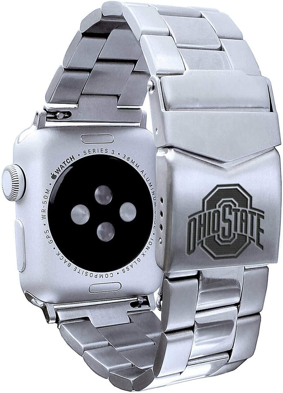 AFFINITY BANDS Ohio State Buckeyes Stainless Steel Link Style Watch Band Compatible with Apple Watch - 38/40mm