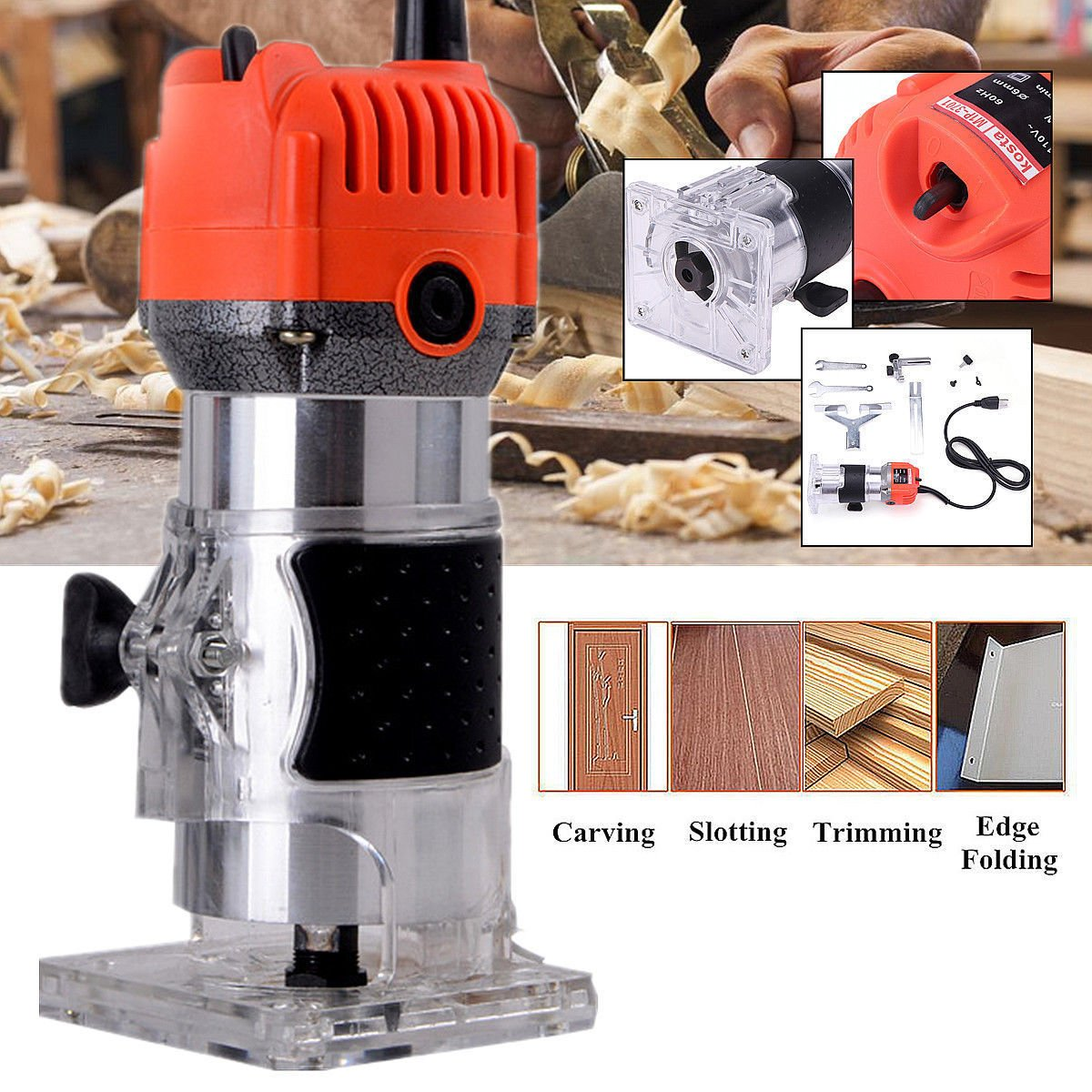Compact Wood Palm Router, 30000RPM Electric Wood Edge Trimmer, 1/4 inch Collets Wood Laminate Palm Router Joiner Tool by PP