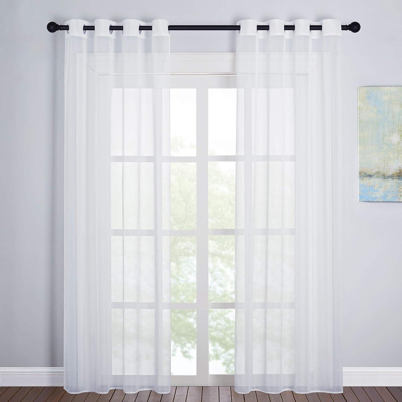 PONY DANCE Cortinas Translucidas Salon - Visillos Moderno Decorativos con Ojales para Dormitorio Matrimonio, 2 Piezas, 140 x 220 cm, Blanco
