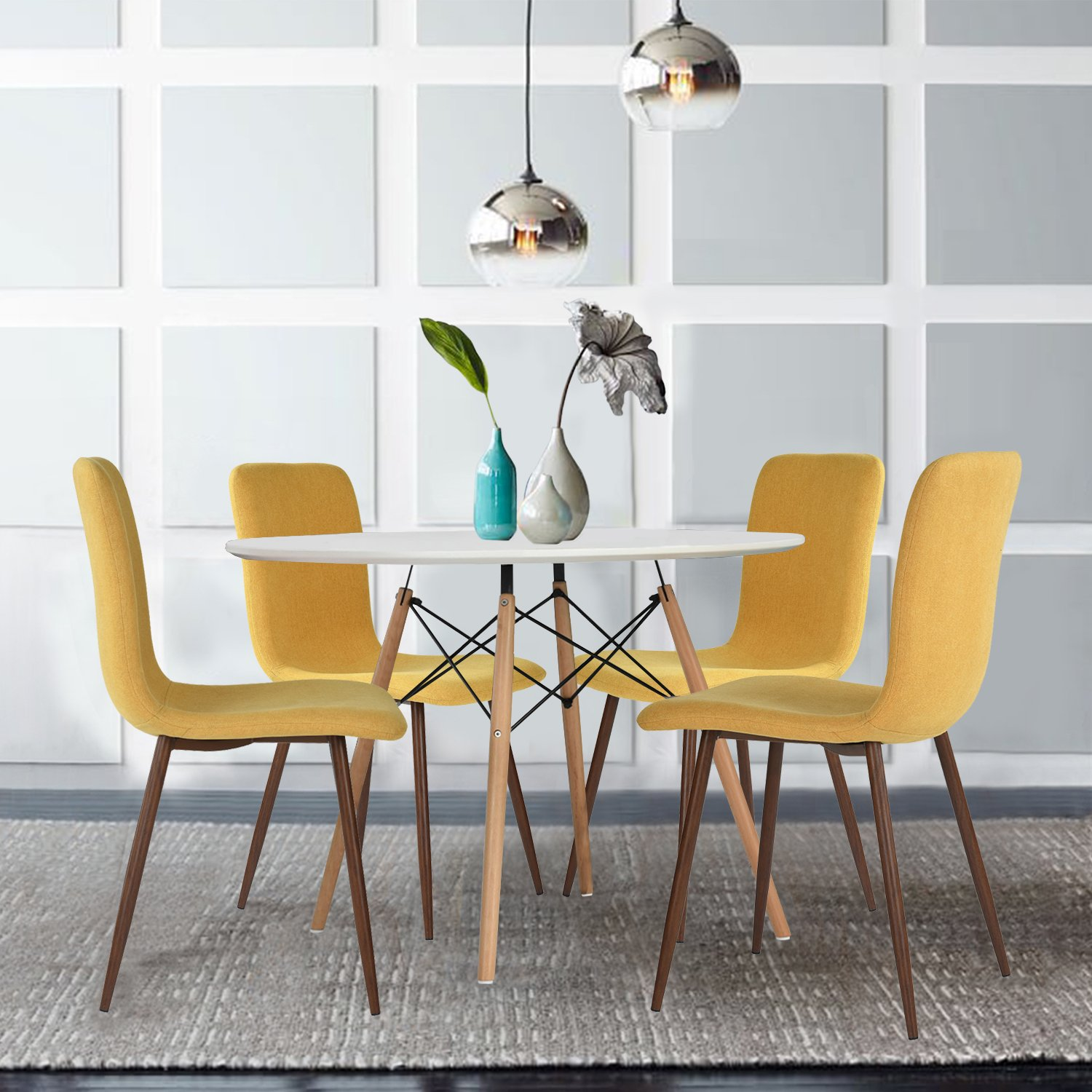 Set of 4 Dining Chairs Coavas Fabric Cushion Kitchen Chairs with ...