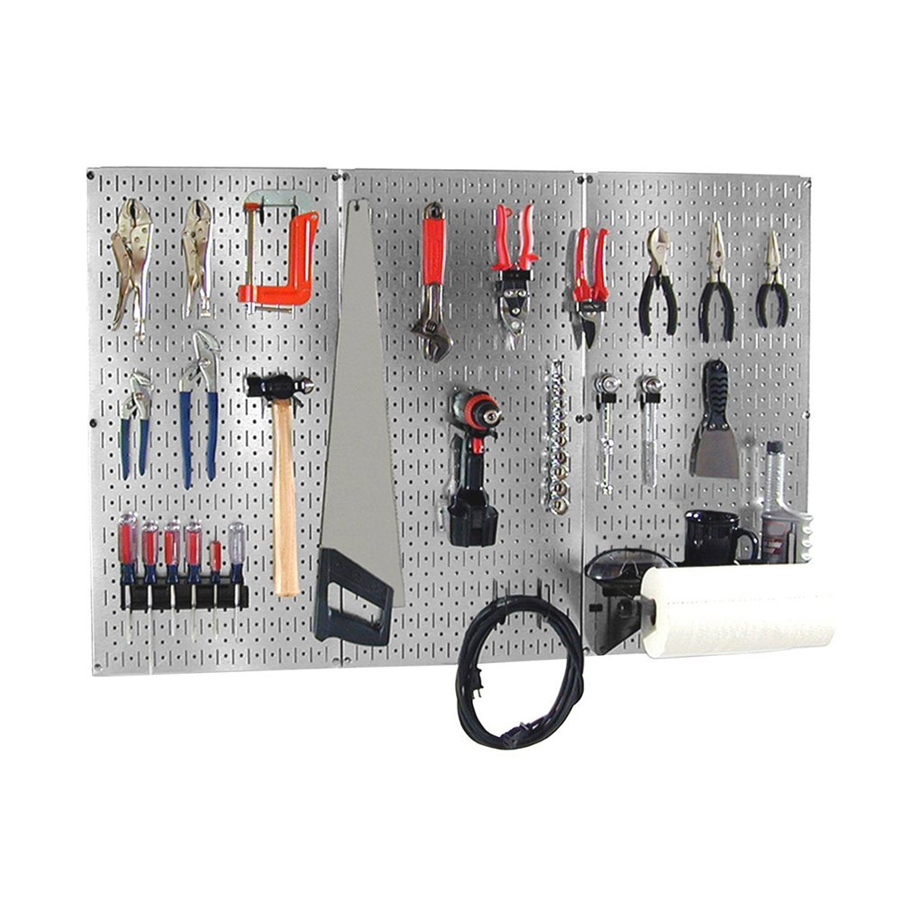 Wall Control 30BAS300GVB 4-Feet Metal Pegboard Basic Tool Organizer Kit with Galvanized Toolboard and Black Accessories, Metallic