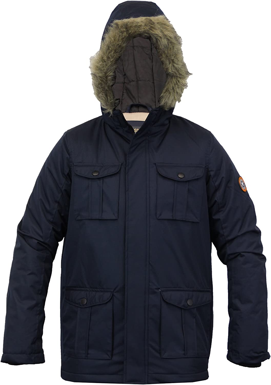 Brave Soul Childrens Boys Padded Waterproof Winter Coat School Parka Jacket Blue Black