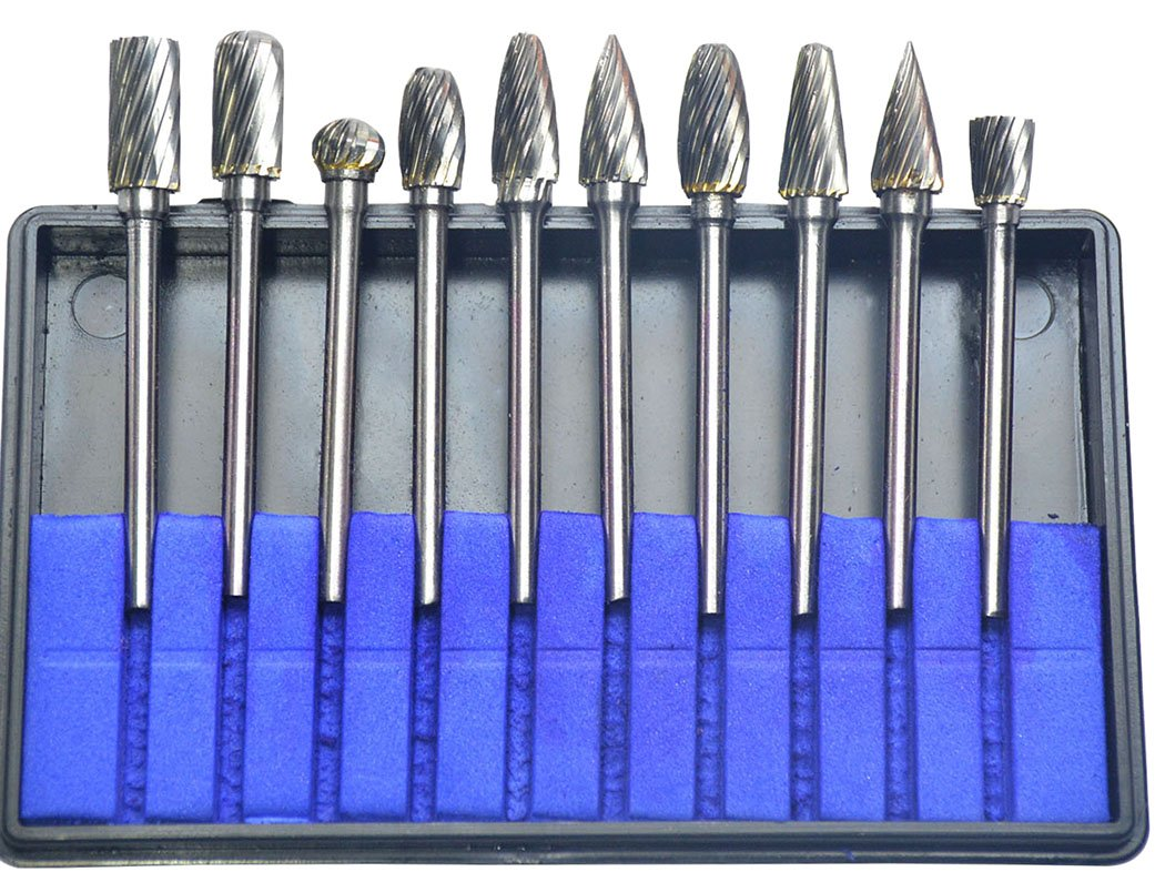 KOTVTM 10Pcs Single Cut Tungsten Carbide Rotary Burr Set 1/8'' Shank for Die Grinder Drill Rotary Burs Woodworking Engraving Polishing Drilling