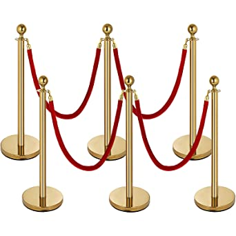 4x Stanchion Posts Queue Pole Retractable 2x Velvet Ropes Crowd Control Barrier