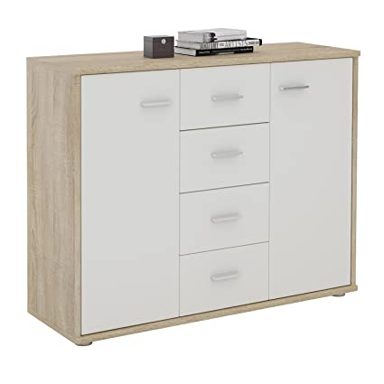 CARO-Möbel Sideboard Jamie Kommode Büromöbel mit 2 Türen und 4 Schubladen  in Sonoma Eiche/weiß