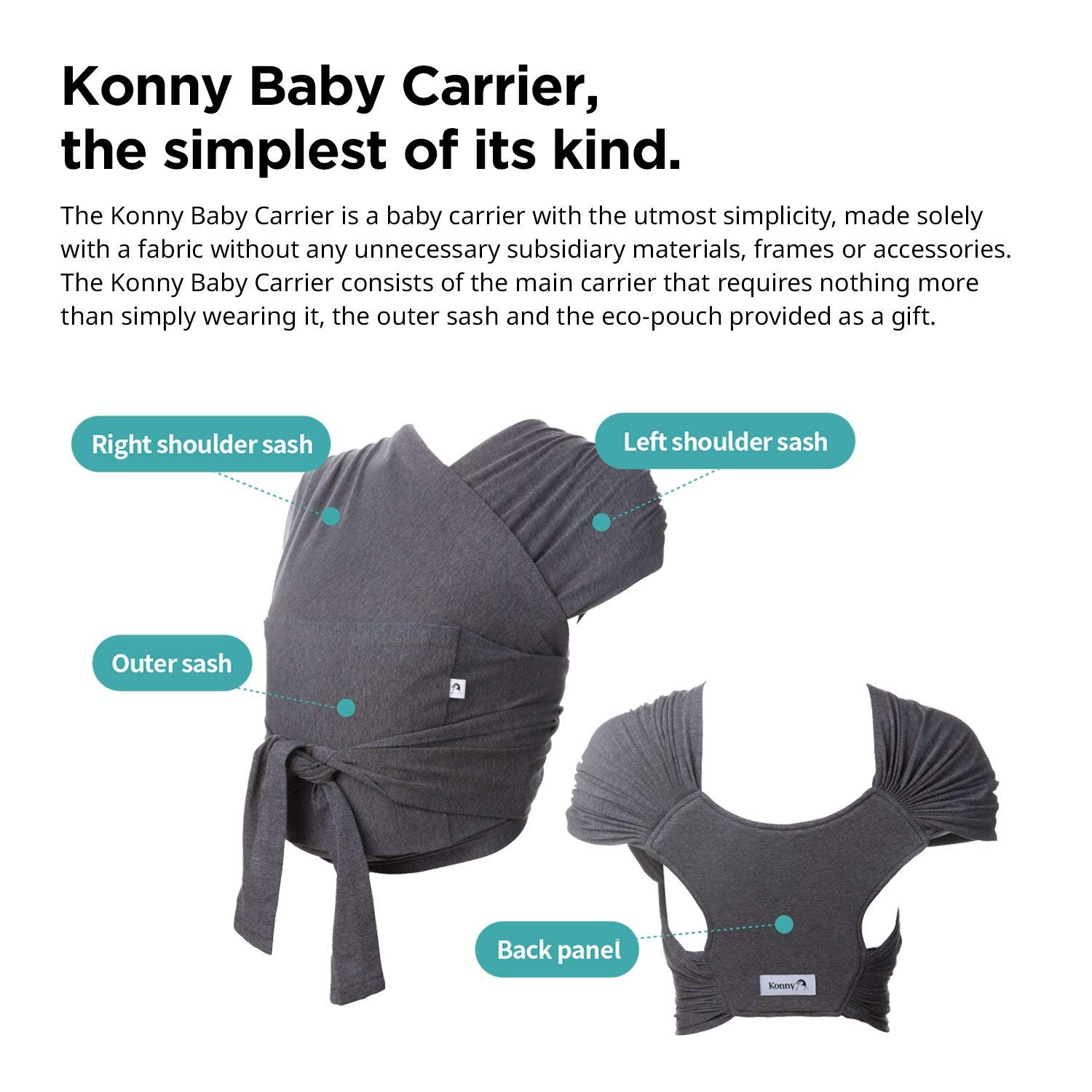 Charcoal, 2XS Konny Baby Carrier Summer Ultra-Lightweight Sensible Sleep Solution Cool and Breathable Fabric Infants to 44 lbs Toddlers Hassle-Free Baby Wrap Sling Newborns