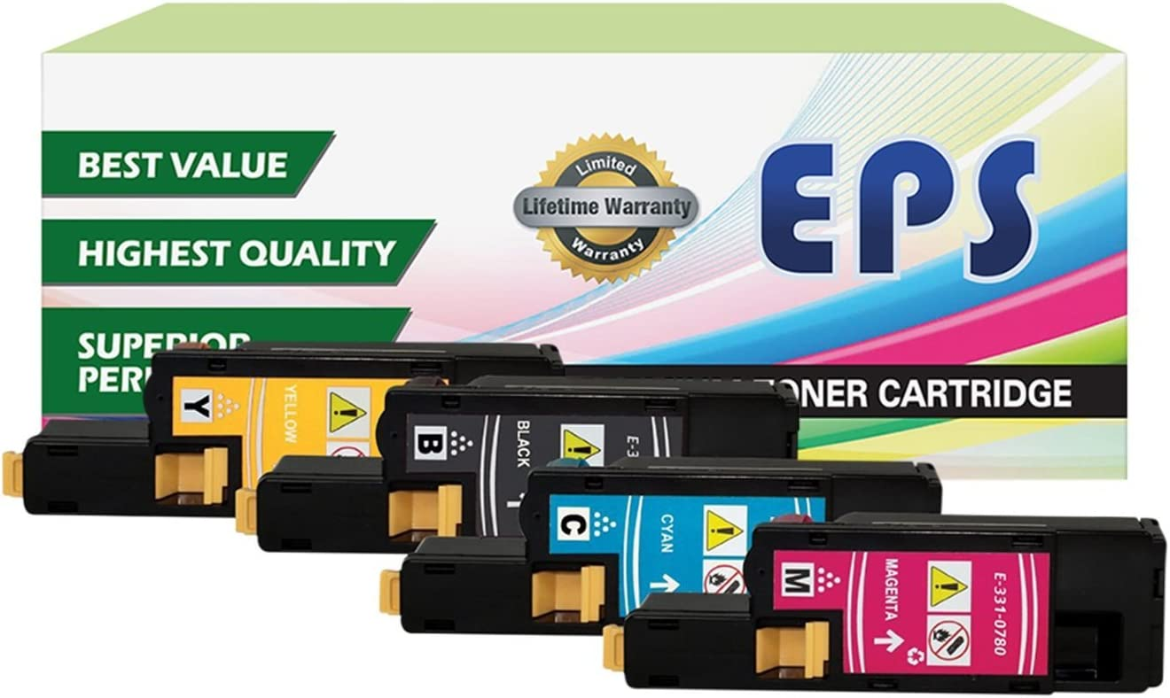 EPS Compatible Replacement for Dell 1250c 1350cnw 1355cn High Yield Black Toner Cartridges - 4 pk (BCMY)