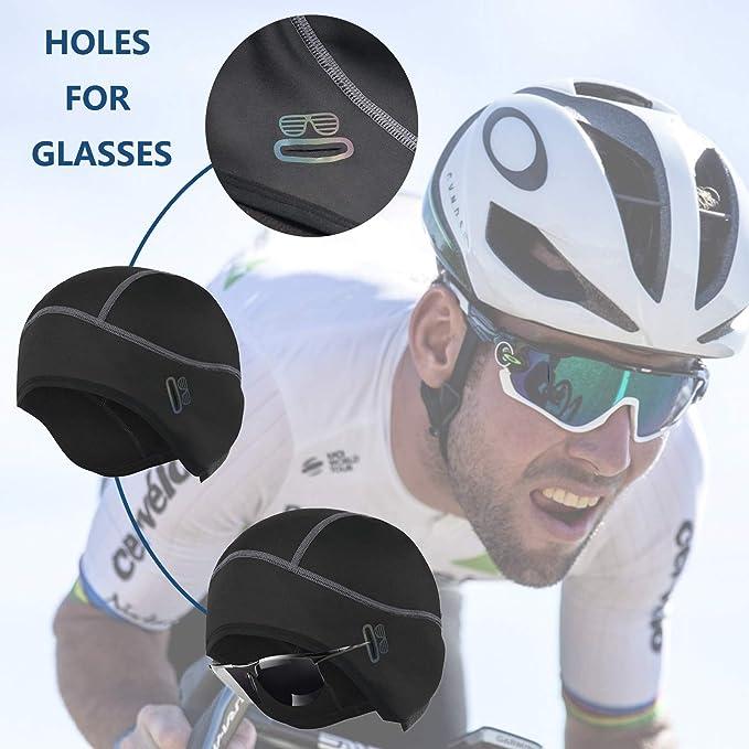 casco da sci con o senza foro per occhiali Berretto invernale da ciclismo caldo e antivento bici da corsa MTB leggero berretto da bicicletta comodo sottosella per casco da bicicletta HIKENTURE