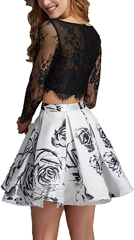 AngelaLove Printing Short Two Pieces Lace Long Sleeve Prom Dress Gown