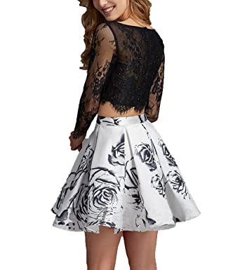 AngelaLove Printing Floral Short Two Pieces Lace Long Sleeve Prom Dress Homecoming Formal Gown Plus Size