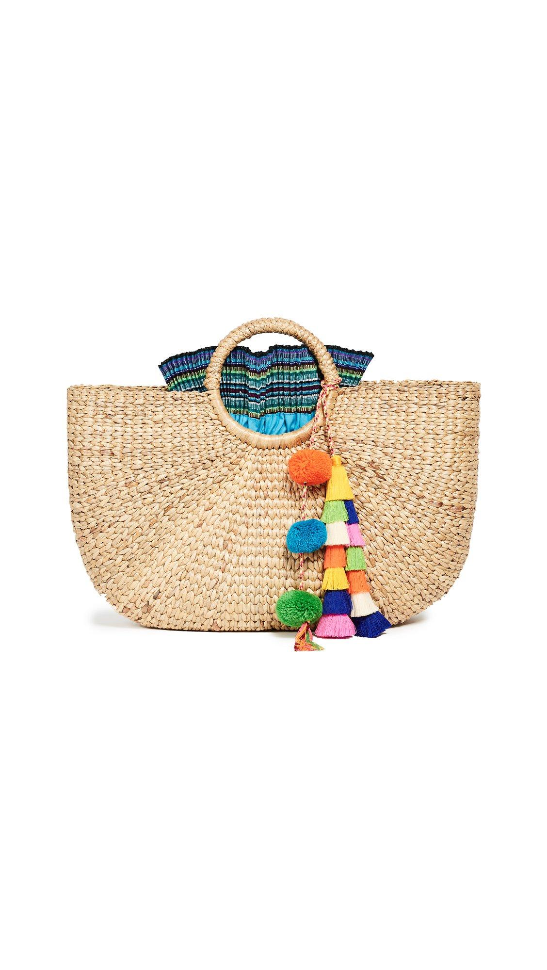 JADEtribe Women's Tassel Basket, Multi/Blue, One Size