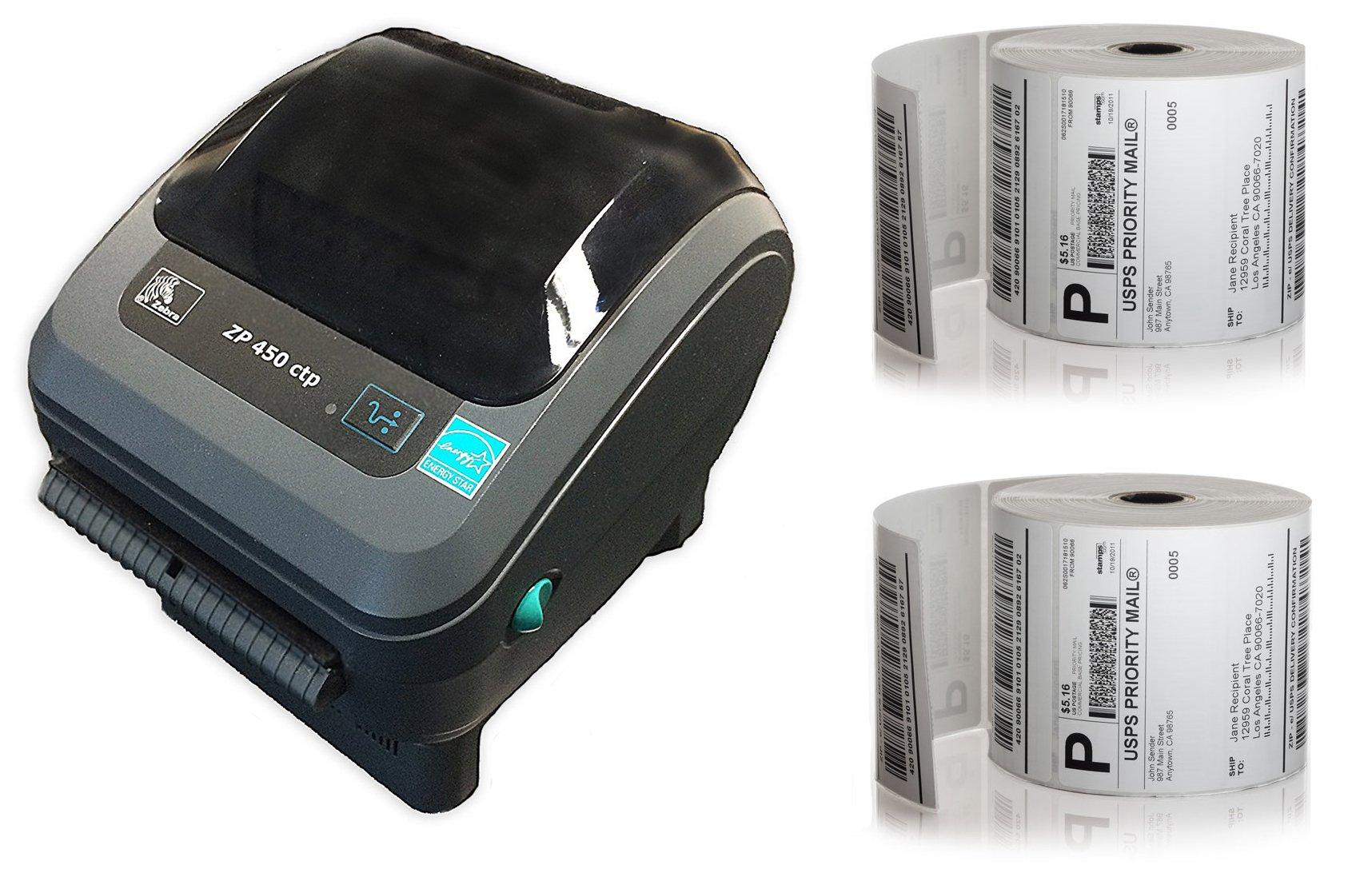 Zebra ZP-450 CTP Direct Thermal Printer + 1,000 4x6 Labels (JUMBO ROLLS)