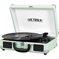 Victrola Vintage 3-Speed Bluetooth Portable Suitcase Record Player with Built-in Speakers | Upgraded Turntable Audio Sound| Includes Extra Stylus | Hint of Mint