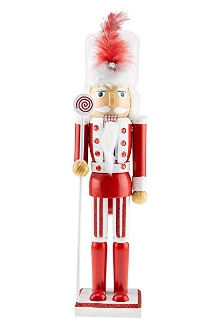 clever creations wooden christmas soldier nutcracker red and white outfit holding lolipop scepter festive - Christmas Soldier