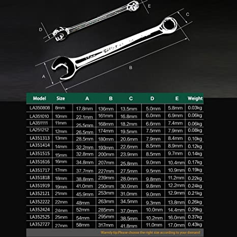 11mm 1pcs Cr-V Material Car Hand Tool and More High Torque Perfect for Repairing Bicycle LAOA Special Open End Ratcheting Wrench Each Machinery