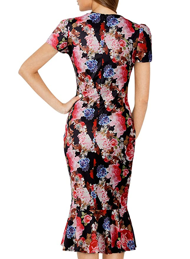 MISSMAY Womens Mermaid Dresses Hawaiian Holiday Floral Print Summer Stretch Bodycon Cocktail Formal XXL Black: Amazon.co.uk: Clothing