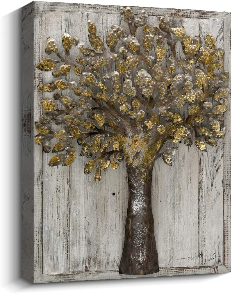 Pi Art Rustic Metal Tree Wall Art on Wood Wall Decor, 3D Iron Tree with Golden Leaves Art for Modern and Contemporary Room Decor, 24 x 32