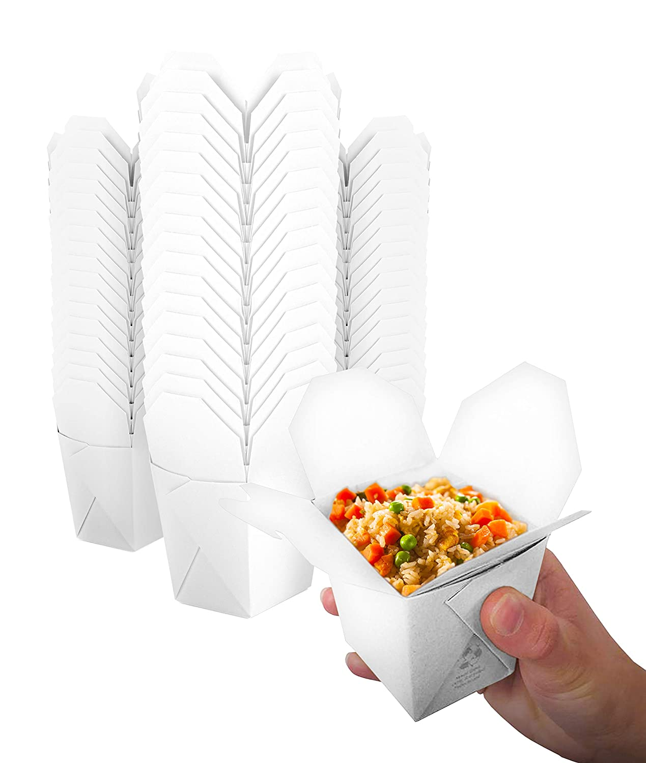 Takeout Food Containers 8 Oz White Microwaveable Mini Chinese Take Out Box (50 Pack) Leak and Grease Resistant Stackable to Go Boxes - Recyclable Food Containers - Party Favor Boxes