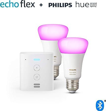 Echo Flex + Philips Hue White & Color Ambiance Pack de 2 bombillas LED inteligentes, compatible c...