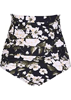 Firpearl Womens Ultra High Waisted Bikini Bottom 50s Ruched Boyleg Swimsuit Bottom