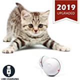 YOFUN Smart Interactive Cat Toy - Newest Version 360 Degree Self Rotating Ball, USB Rechargeable Pet Toy, Build-in Spinning Led Light, Stimulate Hunting Instinct for Your Kitty (White)