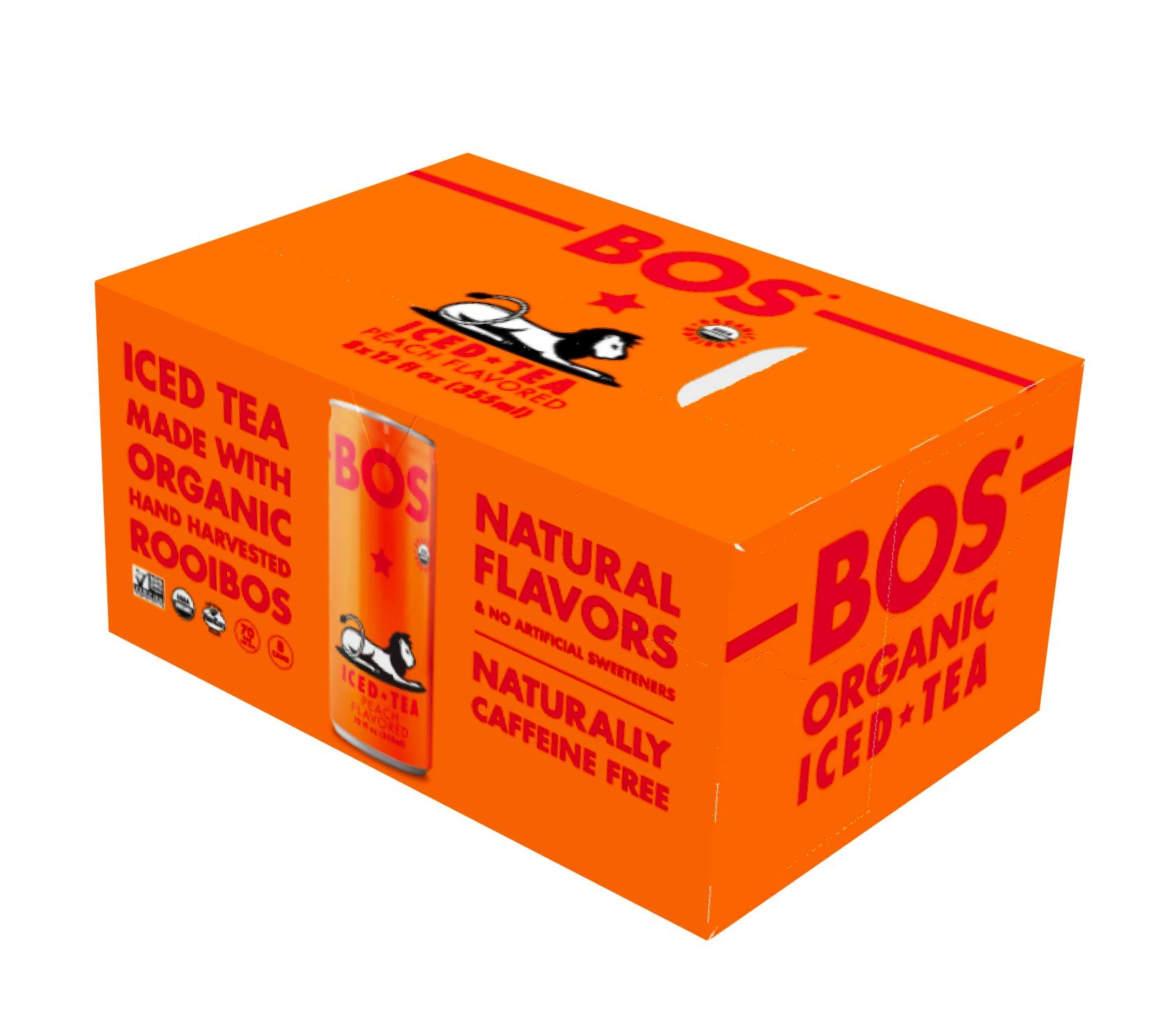 BOS Organic Iced Tea - Naturally Caffeine Free and Antioxidant Rich - Made with Rooibos (Peach, 8 Pack)