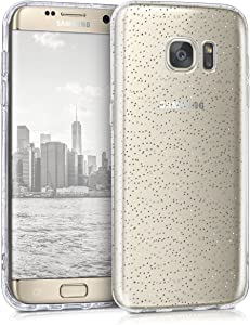kwmobile Funda móvil Compatible conSamsung Galaxy S7 Edge -Carcasa TPU con Purpurina en Plata/Transparente