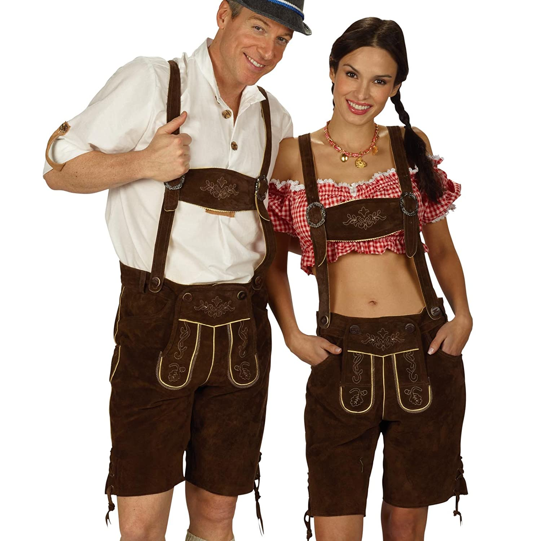 Lederhose Damen, kurze Trachtenhose, Echtleder, braun, fürs Oktoberfest - 44