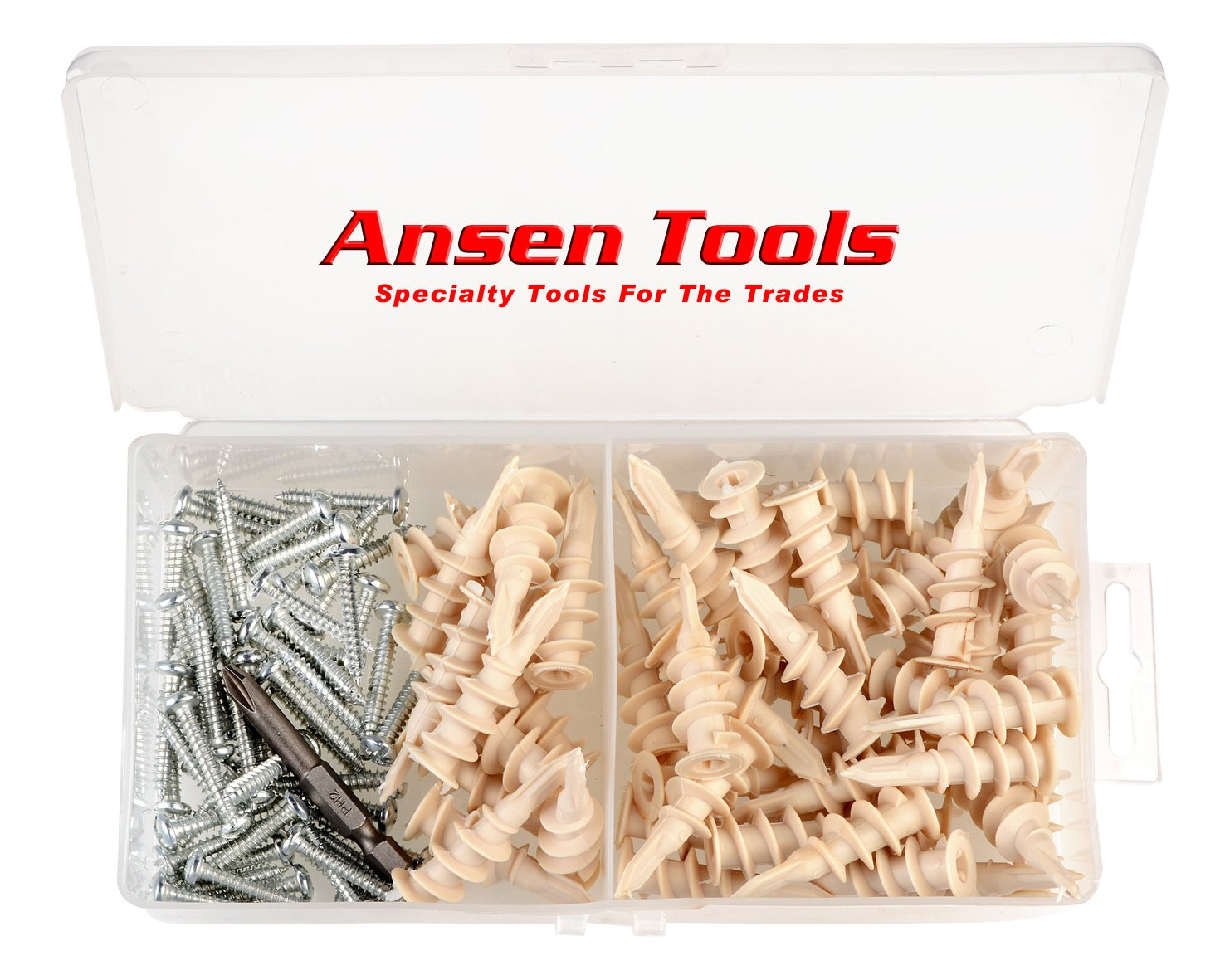Ansen Tools AN 127 Nylon Self-Drilling Anchor /& Screw Drywall Kit 100Piece