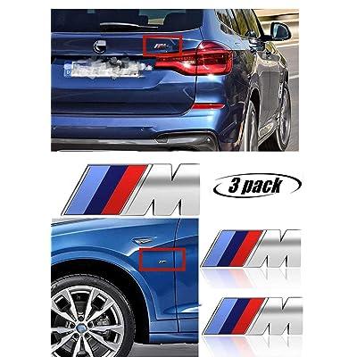 M Power Badge Tri Color Rear Emblem Fender Side Emblem Car Decal Logo Sticker Fit for M Performance Accessories-3pcs(silver): Automotive