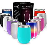 Stainless Steel Stemless Wine Glass Tumbler | Double Wall Vacuum Insulated Travel Tumbler Cup for Coffee, Wine, Cocktails, Ice Cream | Sweat Free, Unbreakable, BPA Free, Powder Coated