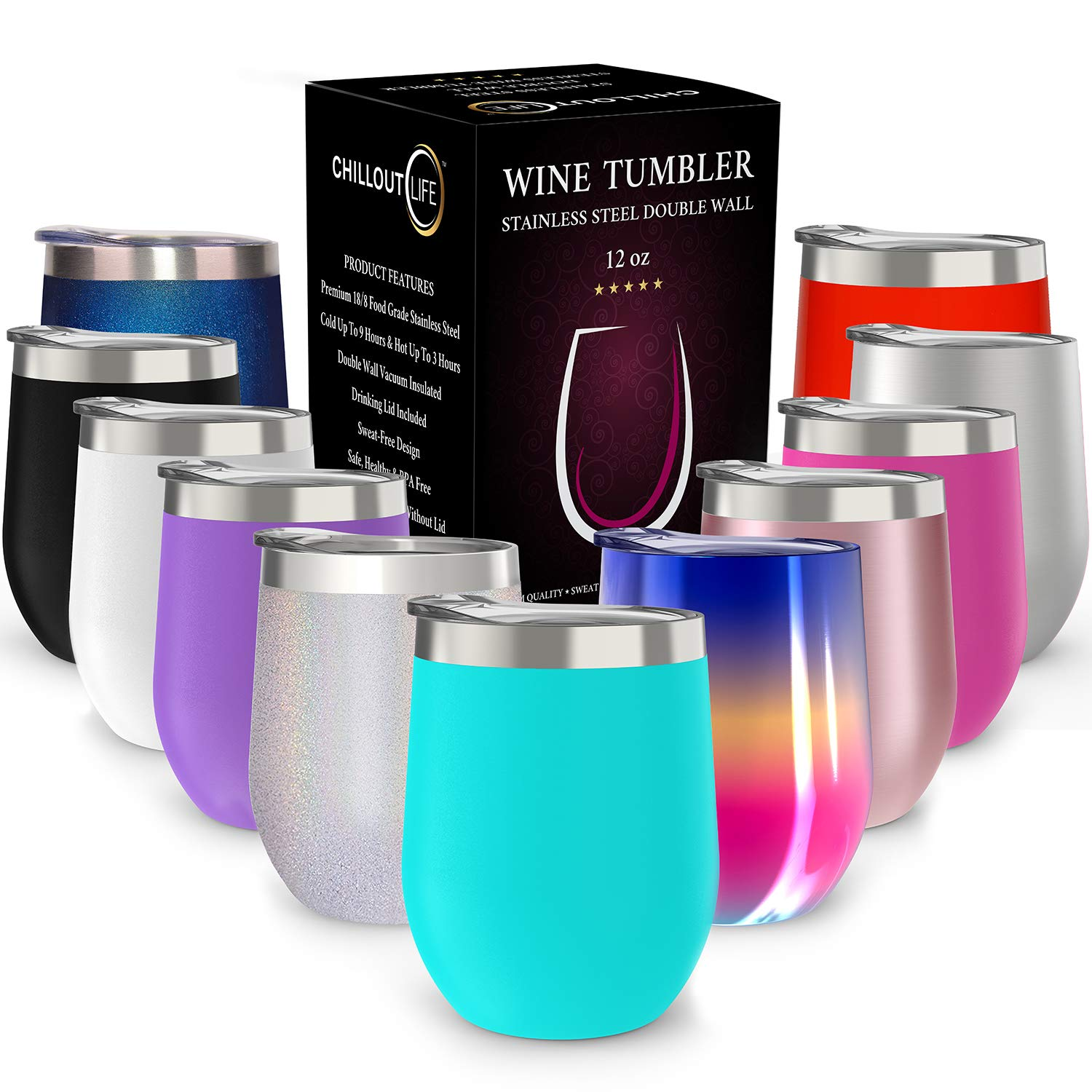 af03ea63d30 CHILLOUT LIFE 12 oz Stainless Steel Tumbler with Lid & Gift Box | Wine  Tumbler Double Wall Vacuum Insulated Travel Tumbler Cup for Coffee, Wine,  Cocktails, ...