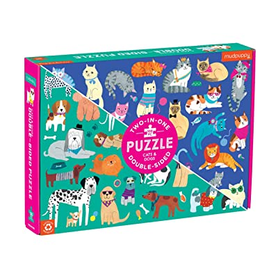 "Mudpuppy Cats and Dogs Double-Sided Puzzle, 100 Pieces, 22""x16.5"" – Perfect Family Puzzle for Ages 6+ - Colorful Illustrations of Dogs on One Side and Cats on The Other – Two Fun Puzzles in One Box: Toys & Games"