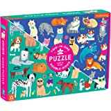 """Mudpuppy Cats and Dogs Double-Sided Puzzle, 100 Pieces, 22""""x16.5"""" – Perfect Family Puzzle for Ages 6+ - Colorful Illustration"""