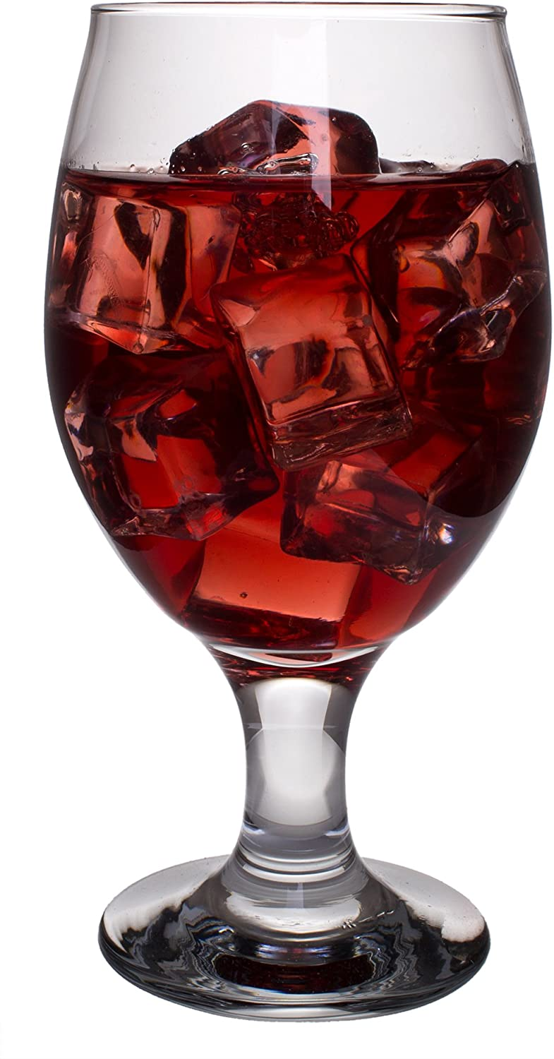 Belluno Classic Clear Glasses for Water, Juice, Liquor - Wine Goblets - Set of 6 (13.5 Ounces)