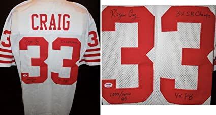 73f3596bf Autographed Roger Craig Jersey - Custom Authenticity 3x Inscriptions Stat -  PSA DNA Certified -