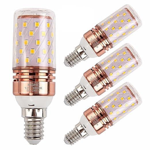 E14 LED Maíz Bombillas 12W AC85-265V 1000LM, 100W incandescente bombillas equivalentes, Blanco Cálido 3000K Candelabro Bombillas LED Lámpara, 4Piezas