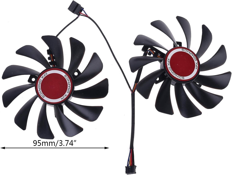Cgration 2 St/ück 95 mm FDC10U12S9-C CF1010U12S K/ühlerl/üfter Ersatz f/ür XFX Radeon RX580 RX590 Grafikkarte L/üfter