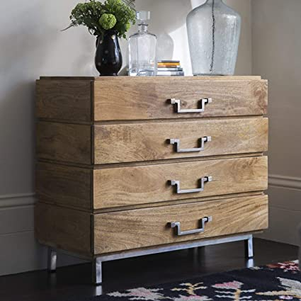 JAIPURWOOD Solid Wood Chest of Drawers with Stainless Steel Legs Natural Finish