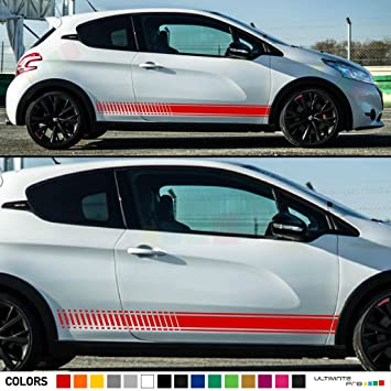Set of Racing Side Stripes Decal Sticker Graphic Compatible with Peugeot 208 GTi 1.6-Litre