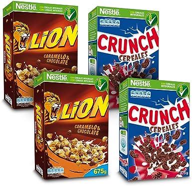 Cereales Nestlé - Lion (Pack de 2 x 675 g) + Crunch (Pack de 2 x 375 g): Amazon.es: Alimentación y bebidas