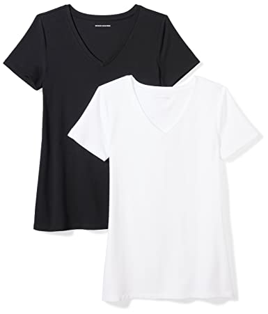 Amazon Essentials Women's 2 Pack Short Sleeve V Neck Solid T Shirt by Amazon+Essentials