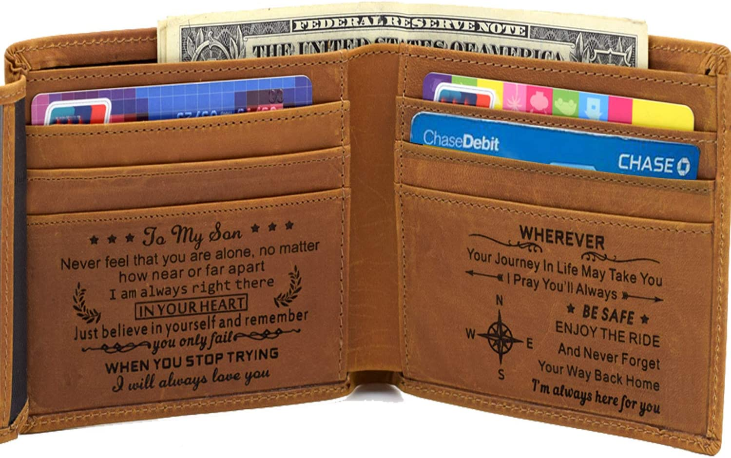 Engraved Mens Wallet Personalized Leather Wallet for Men Husband Dad Son Boyfriend Love Custom Gifts (Tri-fold wallet to my son)