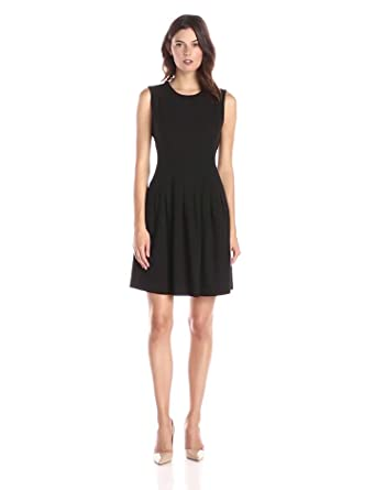 Lark & Ro Women's Soft Pleated Fit and Flare Dress, Black, 2